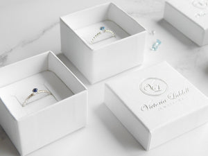 Set of personalised birthstone rings