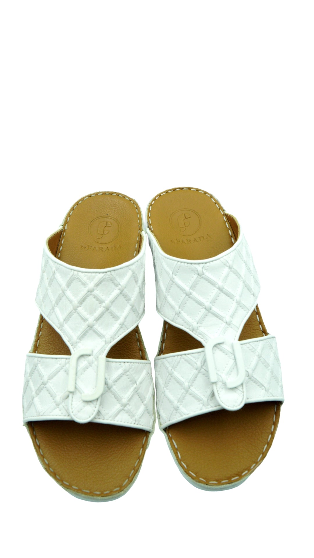 White Classic Square-Patch (317-33) Arabic Sandal
