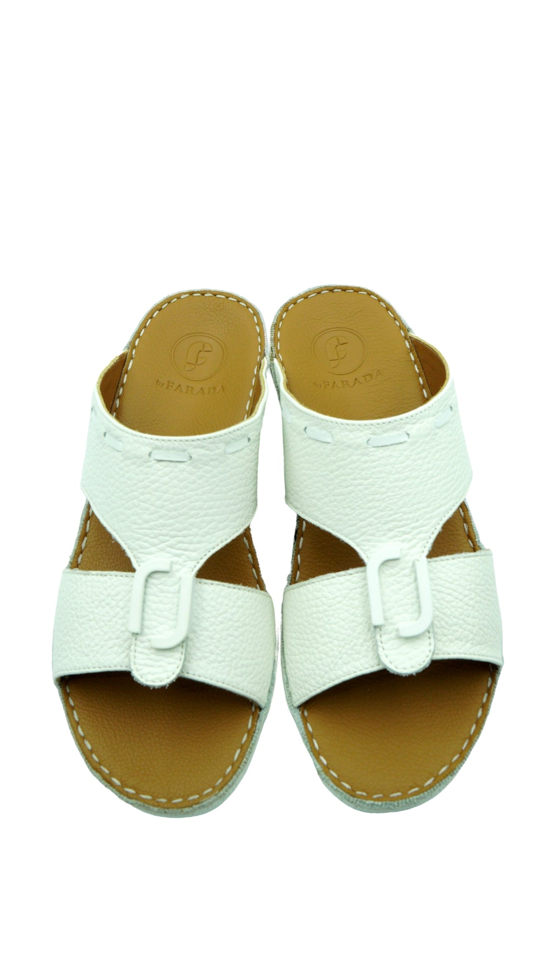 White Classic Soft-Grained Designo (317-28) Arabic Sandal