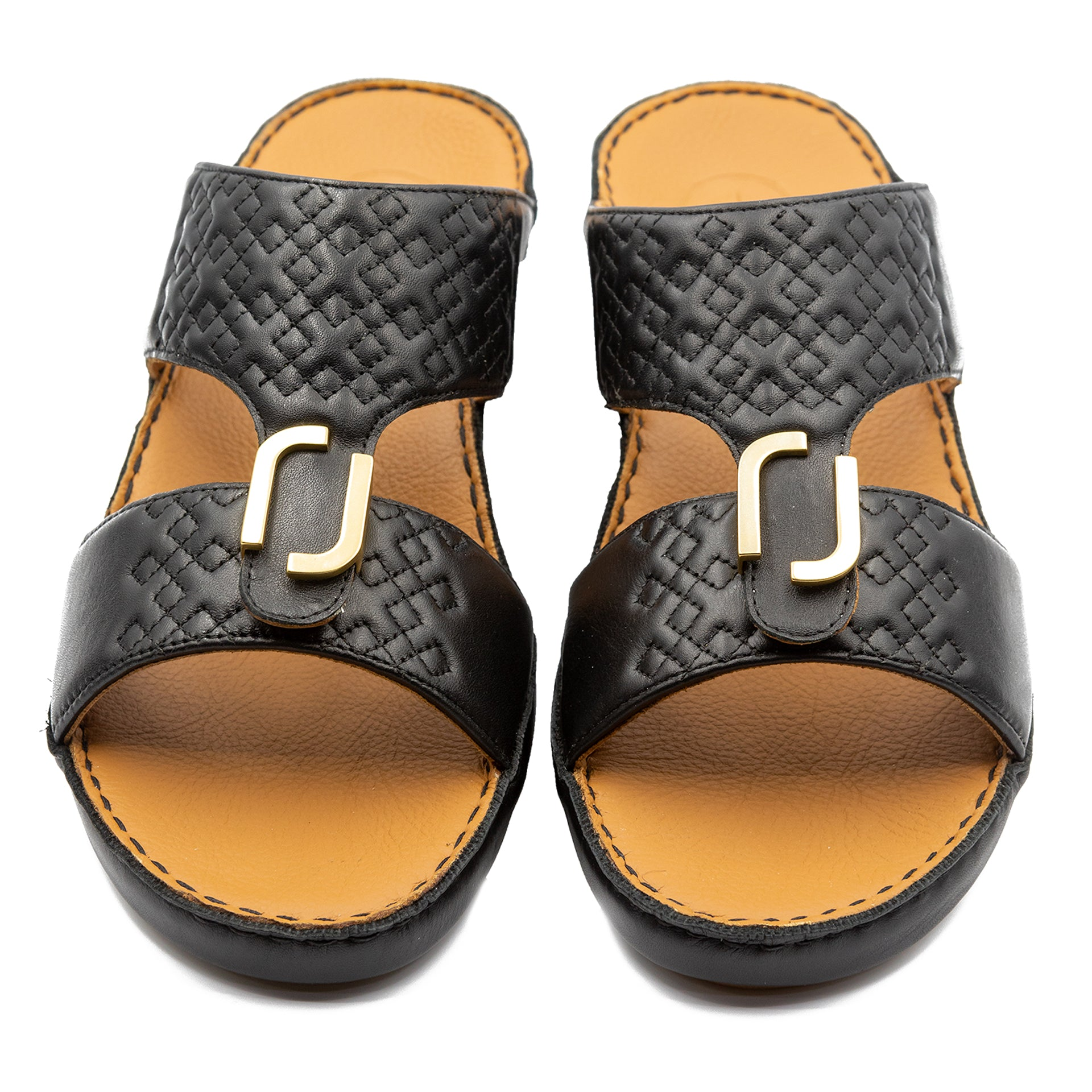 Black Small Squares Stitched Arabic Sandal (317-98)