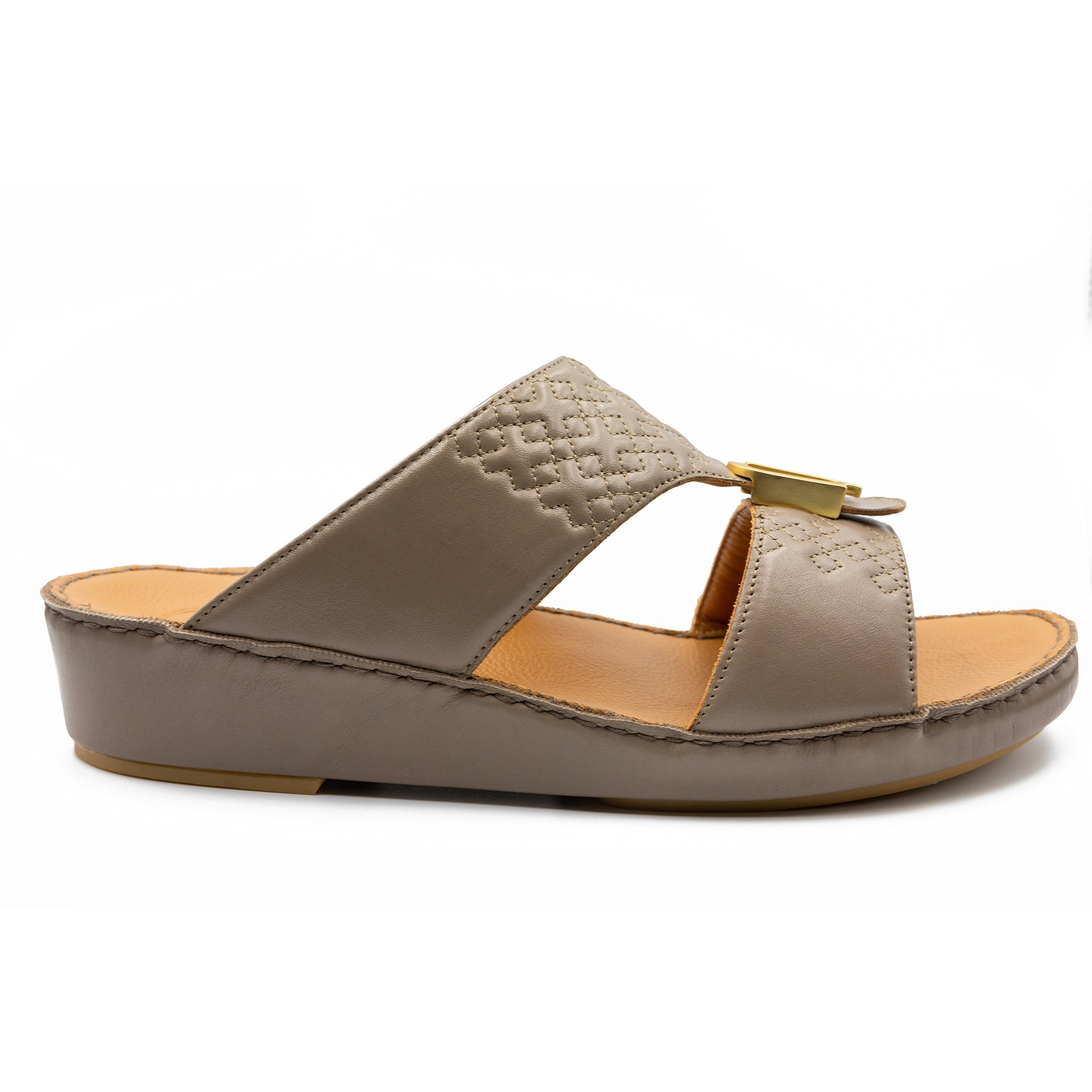 Earth Small Squares Stitched Arabic Sandal (317-98)