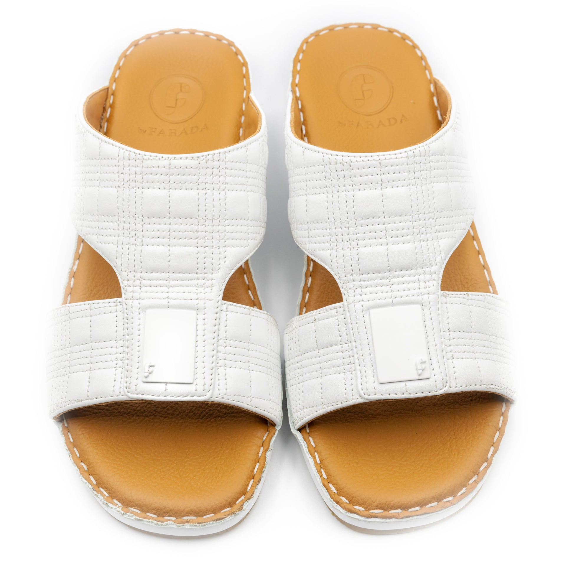 White Square Stitched Arabic sandal(103-34)