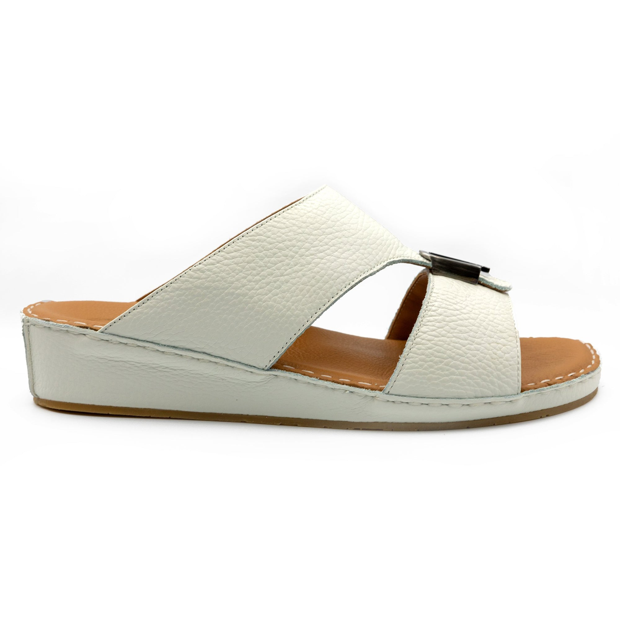 WHITE CUSHIONED MILLED ARABIC SANDAL (103-37)