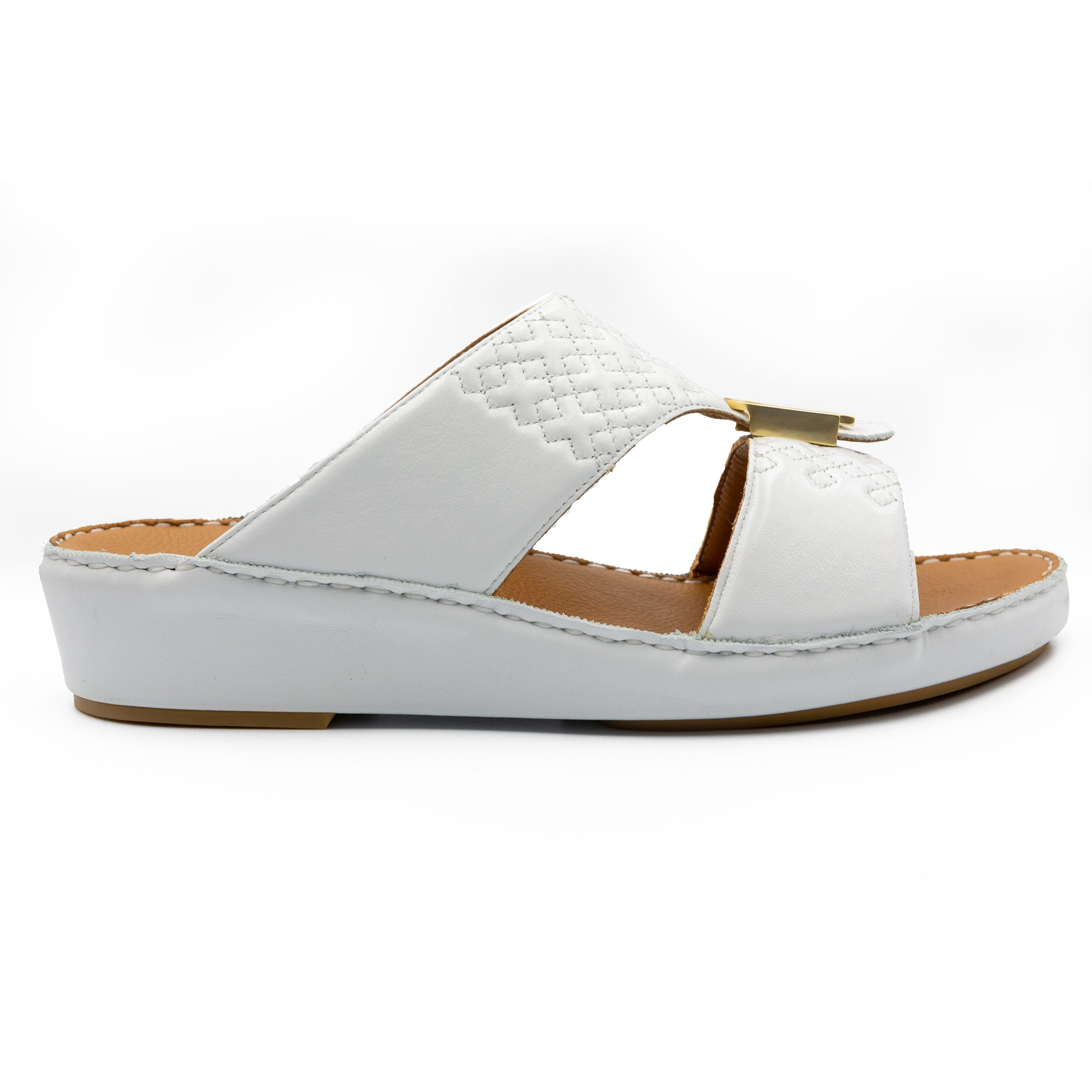White, square, stiched, Flat, Sandals, Arabic, Sandal, Ramadan, Collection, Accessories