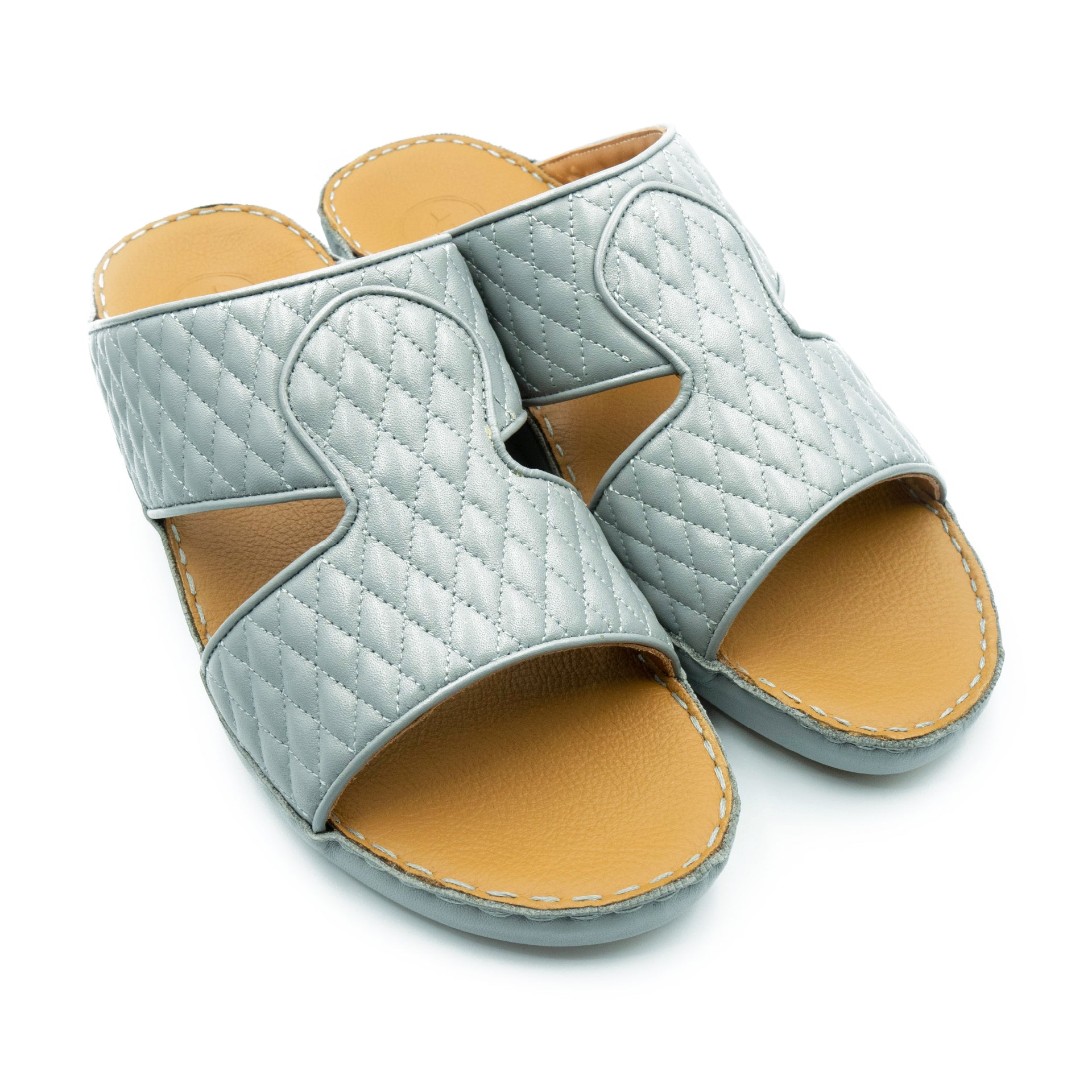 Grey Diamond Stitched Arabic Sandal(317-37)