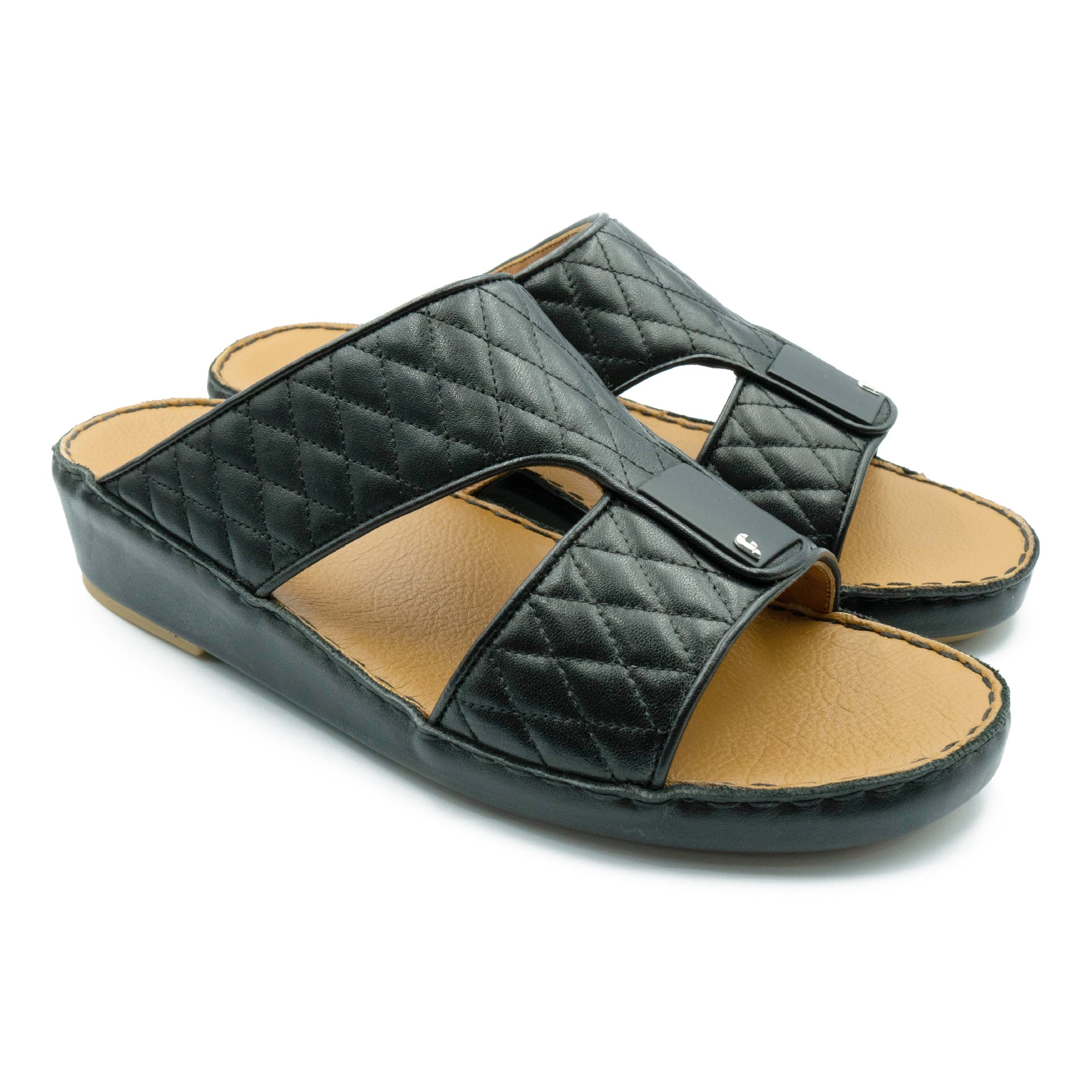 Black, Flat, Diamond, stiched, Flat, Sandals, Ramadan, Collection, Arabic, Sandals, Accessories
