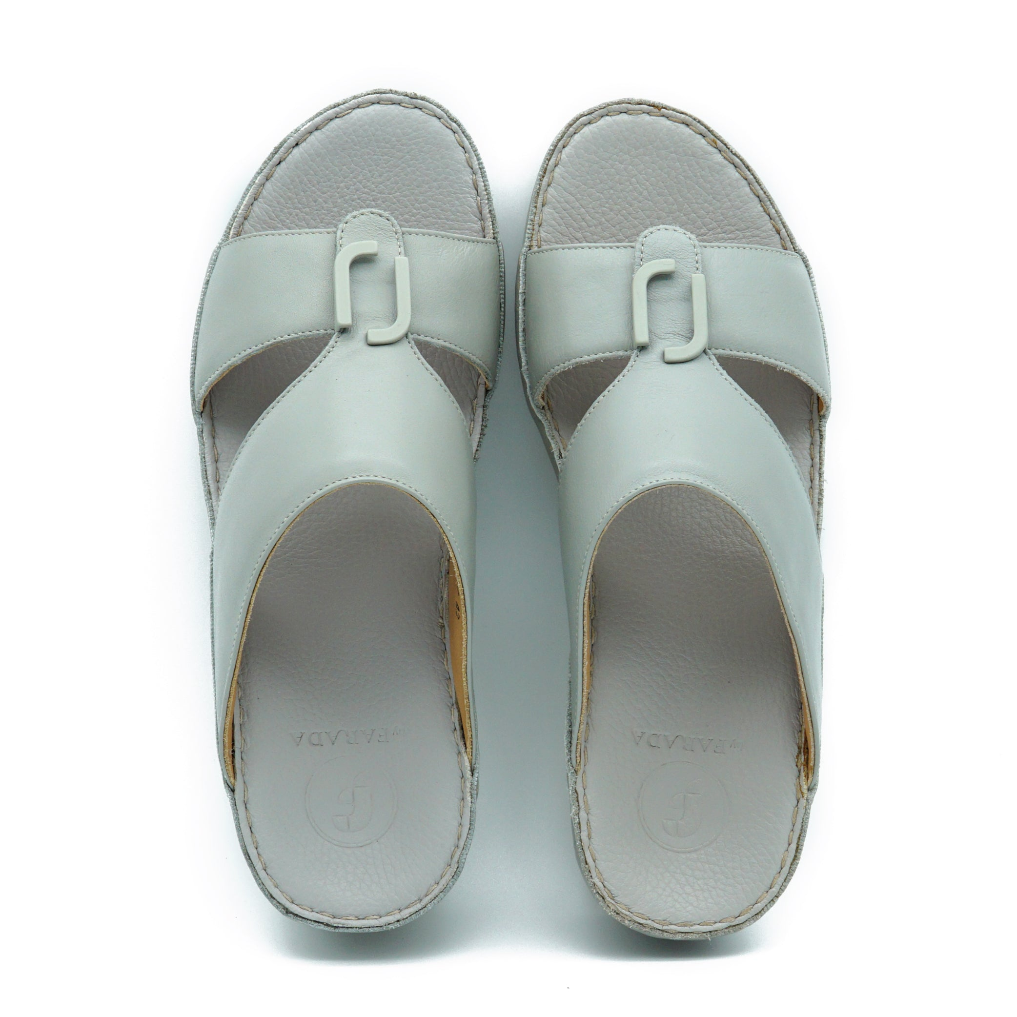 Grey Nappa F Buckle Arabic Sandal (317-25)