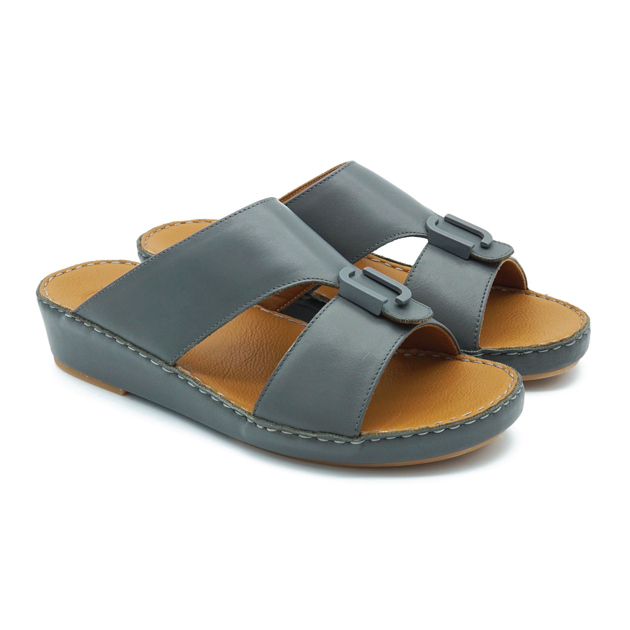Dark Grey Nappa F Buckle Arabic Sandal (317-25)