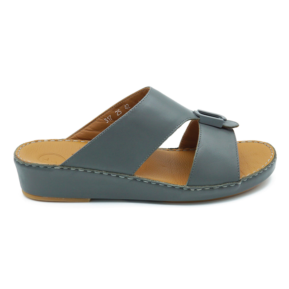 DARK GREY NAPA F BUCKLE ARABIC SANDAL (317-25)