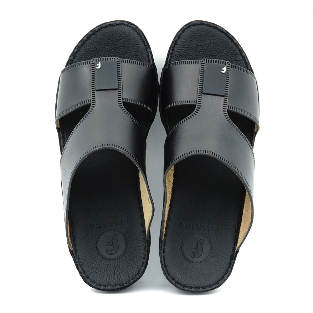 Black Unlined Classic Flat Arabic Sandal (317-76)