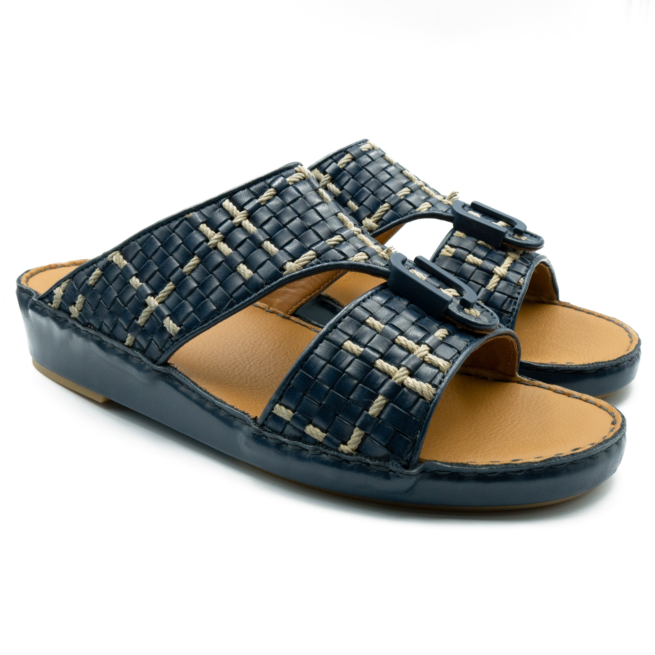 Navy, Flat, stiched, Flat, Sandals, Ramadan, Collection, Arabic, Sandals, Accessories