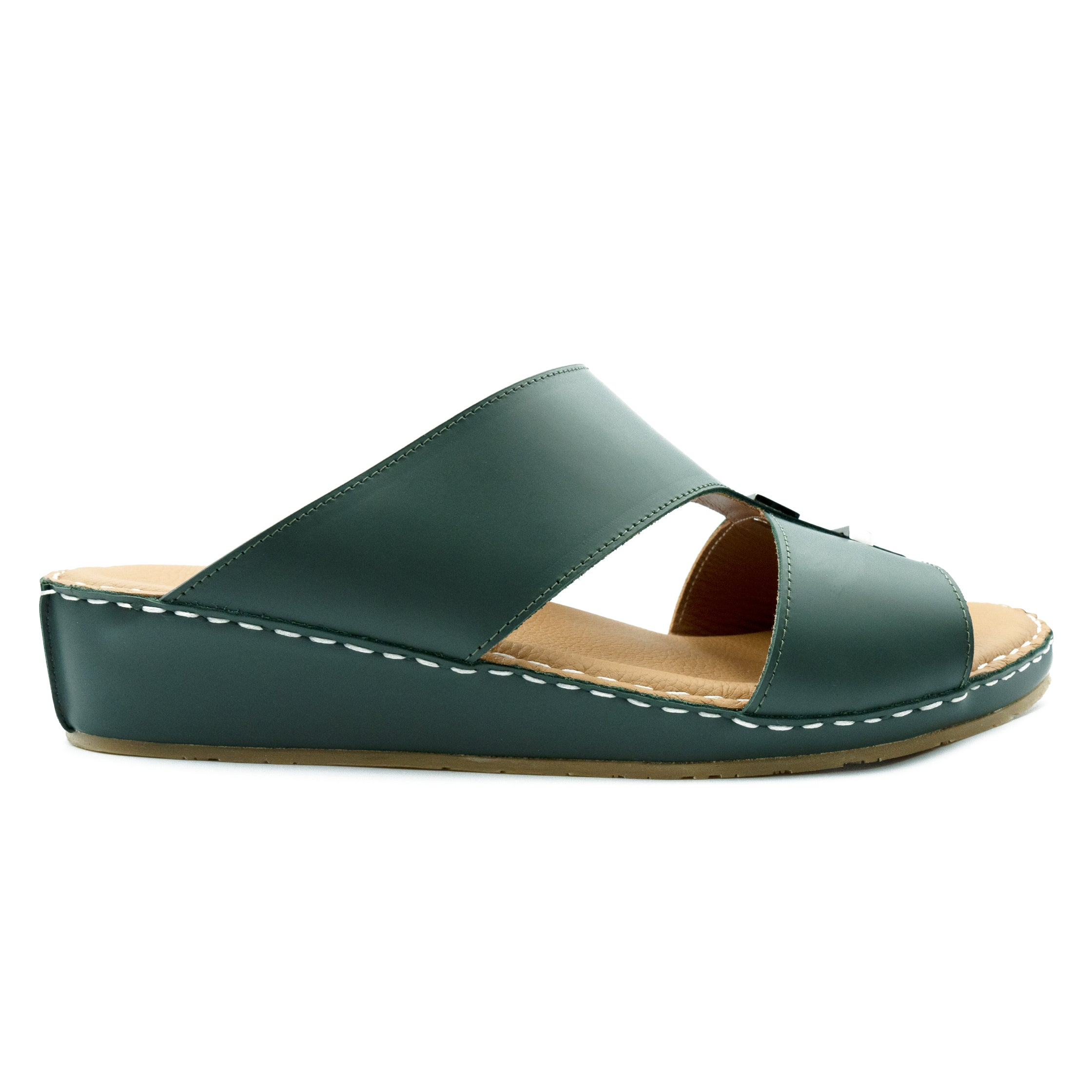 Bottle Green, Oxford, Soft, Matte, Design, Mono-Tone, Arabic, Flat, Sandals, Ramadan Collection, Arabic, Sandals, Accessories
