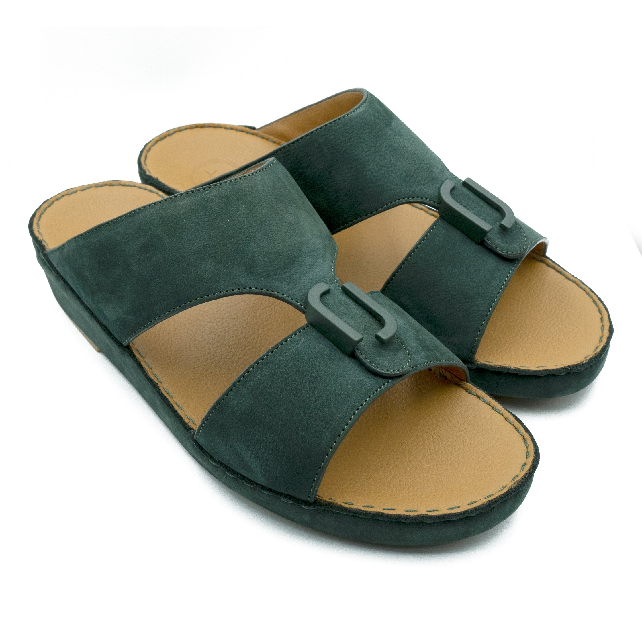 Bottle Green, Suede, Classic, Arabic, Flat, Sandals, Ramadan Collection, Arabic, Sandals, Accessories