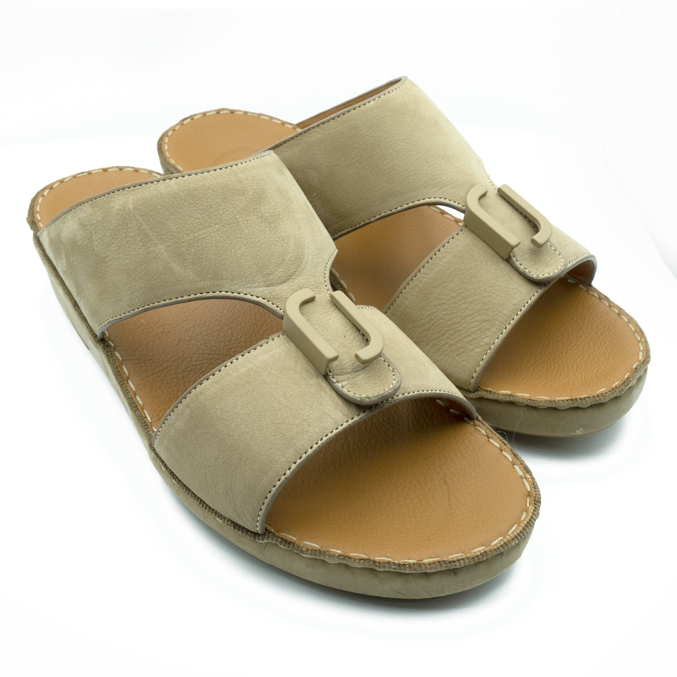 Beige, Suede, Classic, Arabic, Flat, Sandals, Ramadan Collection, Arabic, Sandals, Accessories