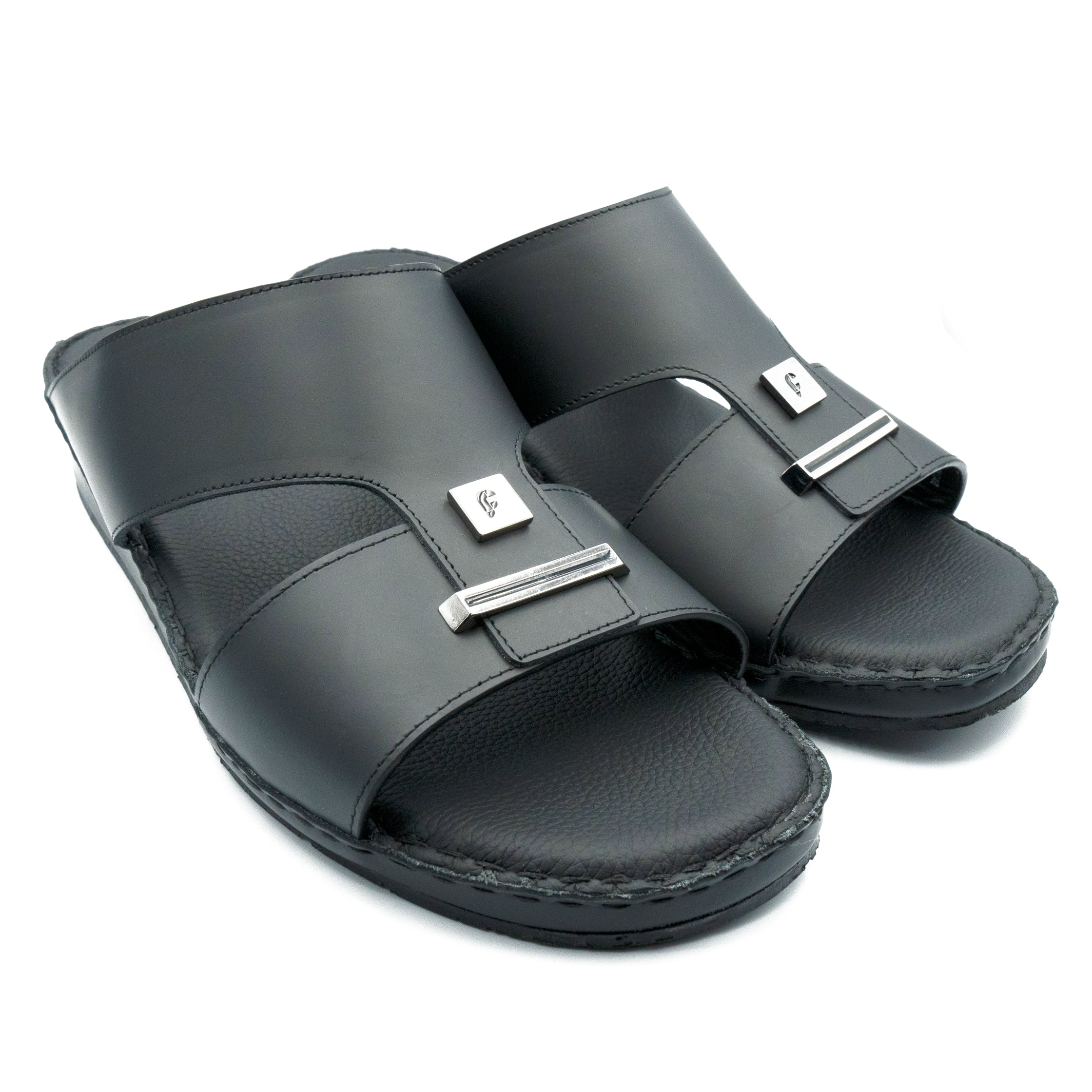 Black 2-Plate Oxford Soft Matte  (103-33) Arabic Sandal