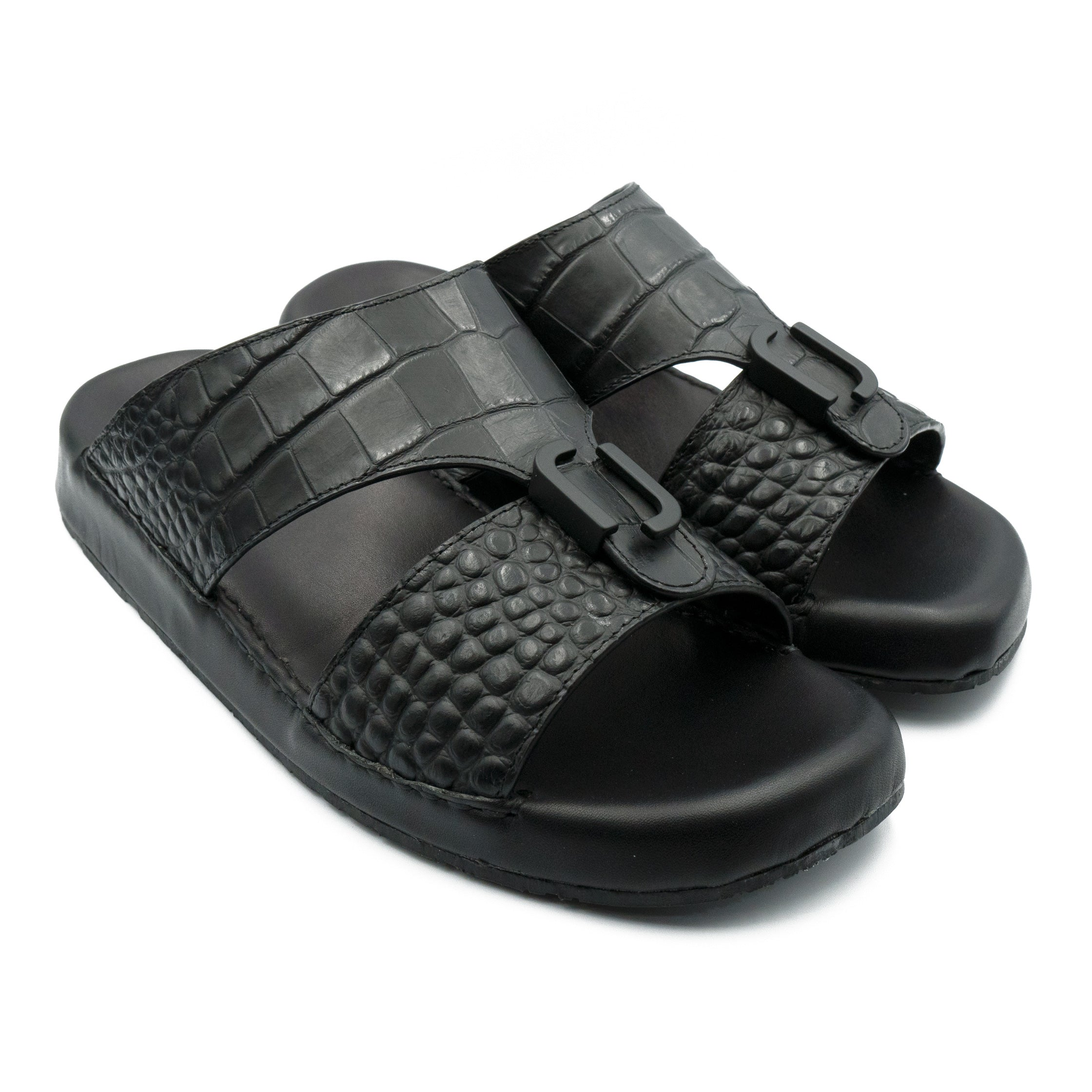 Black Matt Croco (REC01) Arabic Sandals