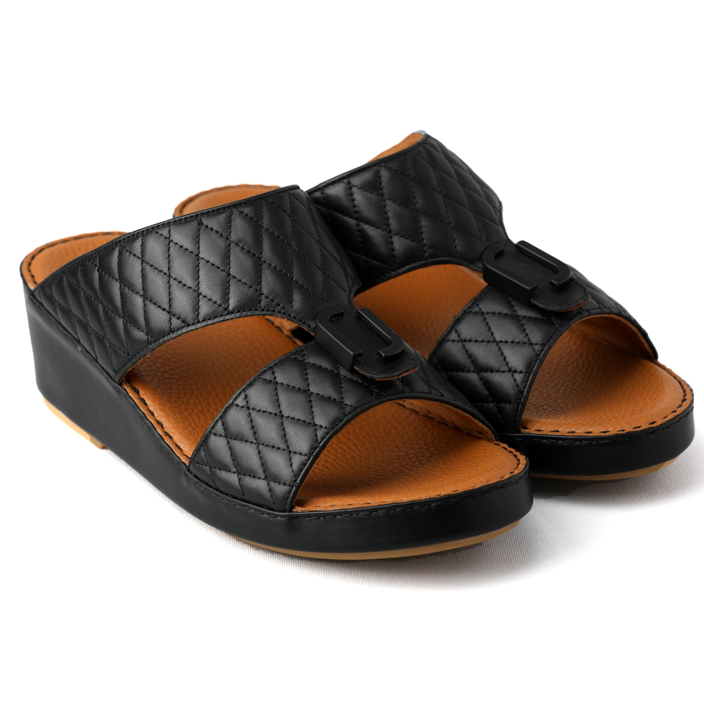 Black Diamond Stitched Arabic Sandal (317-66)