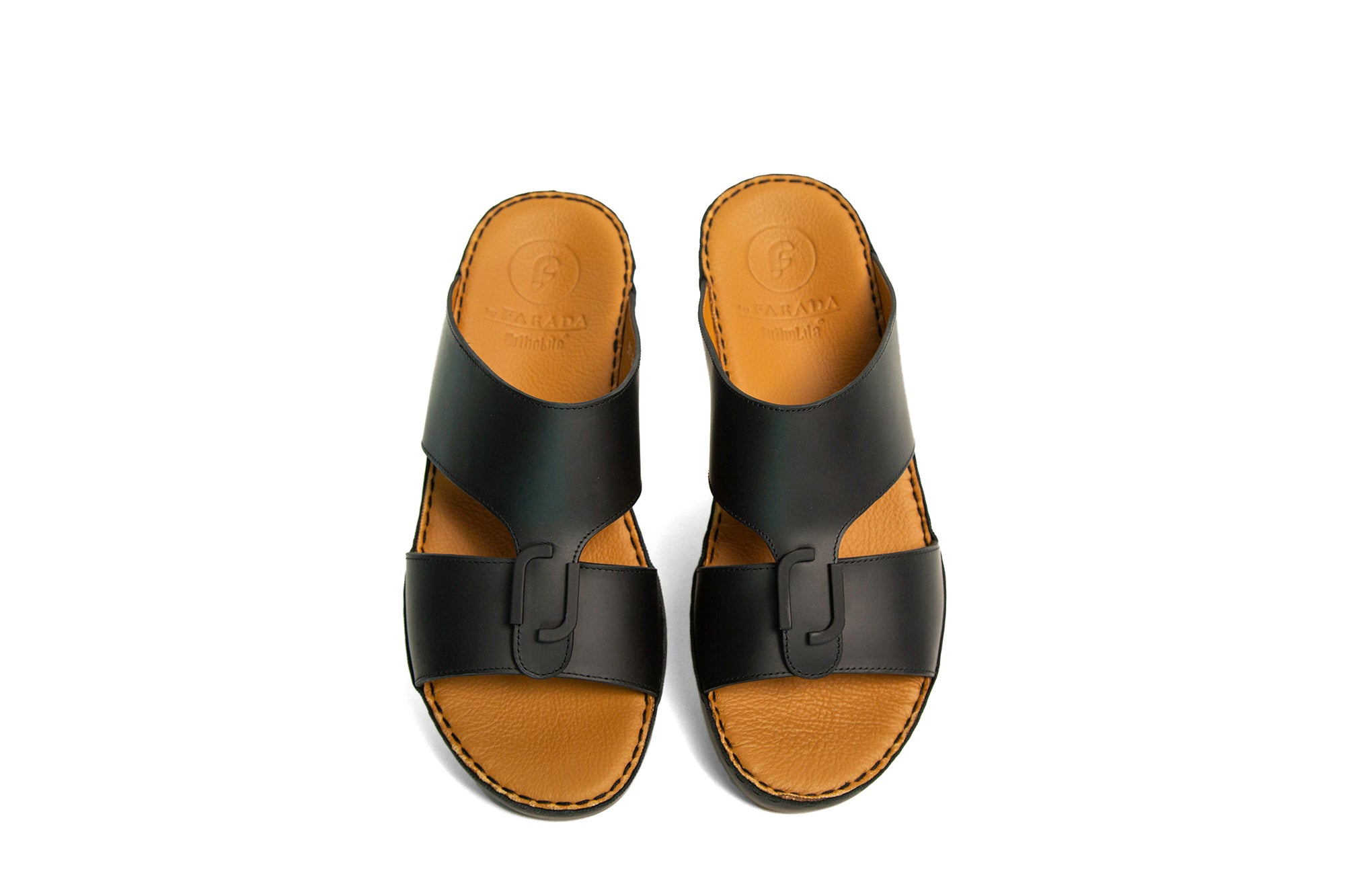 DAVINCI BLACK OXFORD CENTRAL BUCKLE ARABIC SANDAL (317-101)