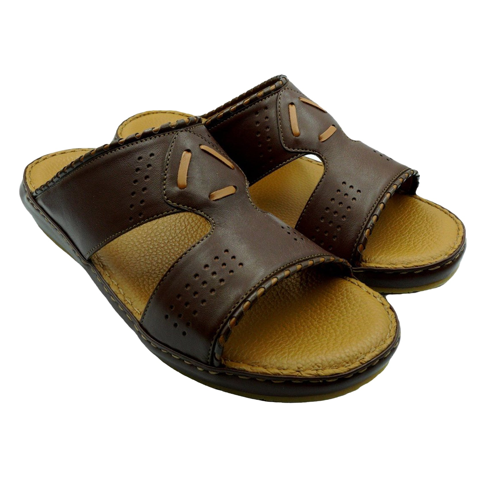 Brown/Tan Crown Designo Nappa (121-12) Arabic Sandal