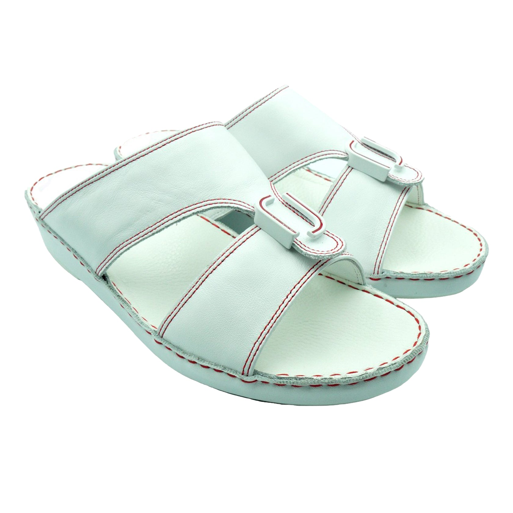 White Nappa Red Stitching (317-40) Arabic Sandal