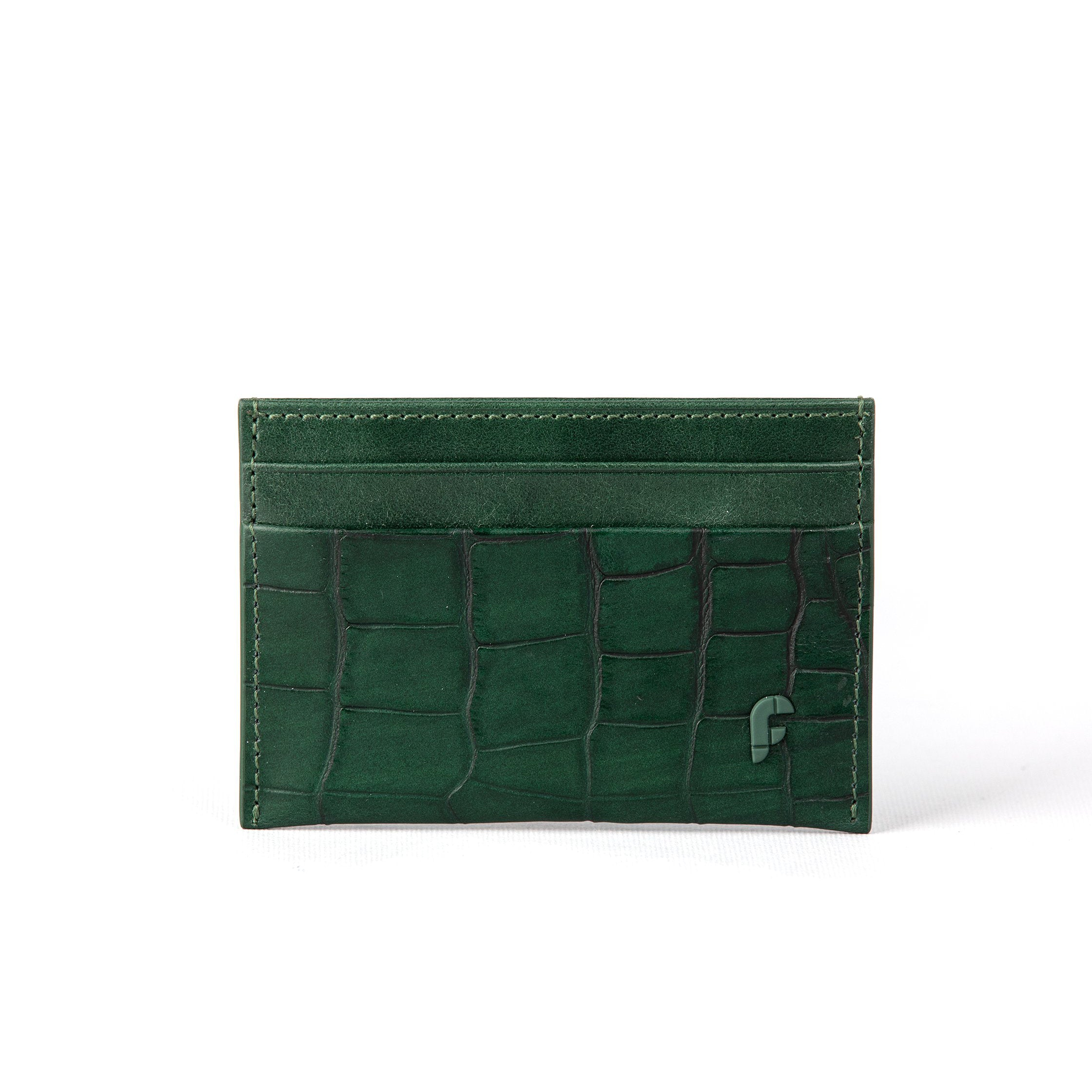 Green Matt Croco Credit Card Holder (FP106)