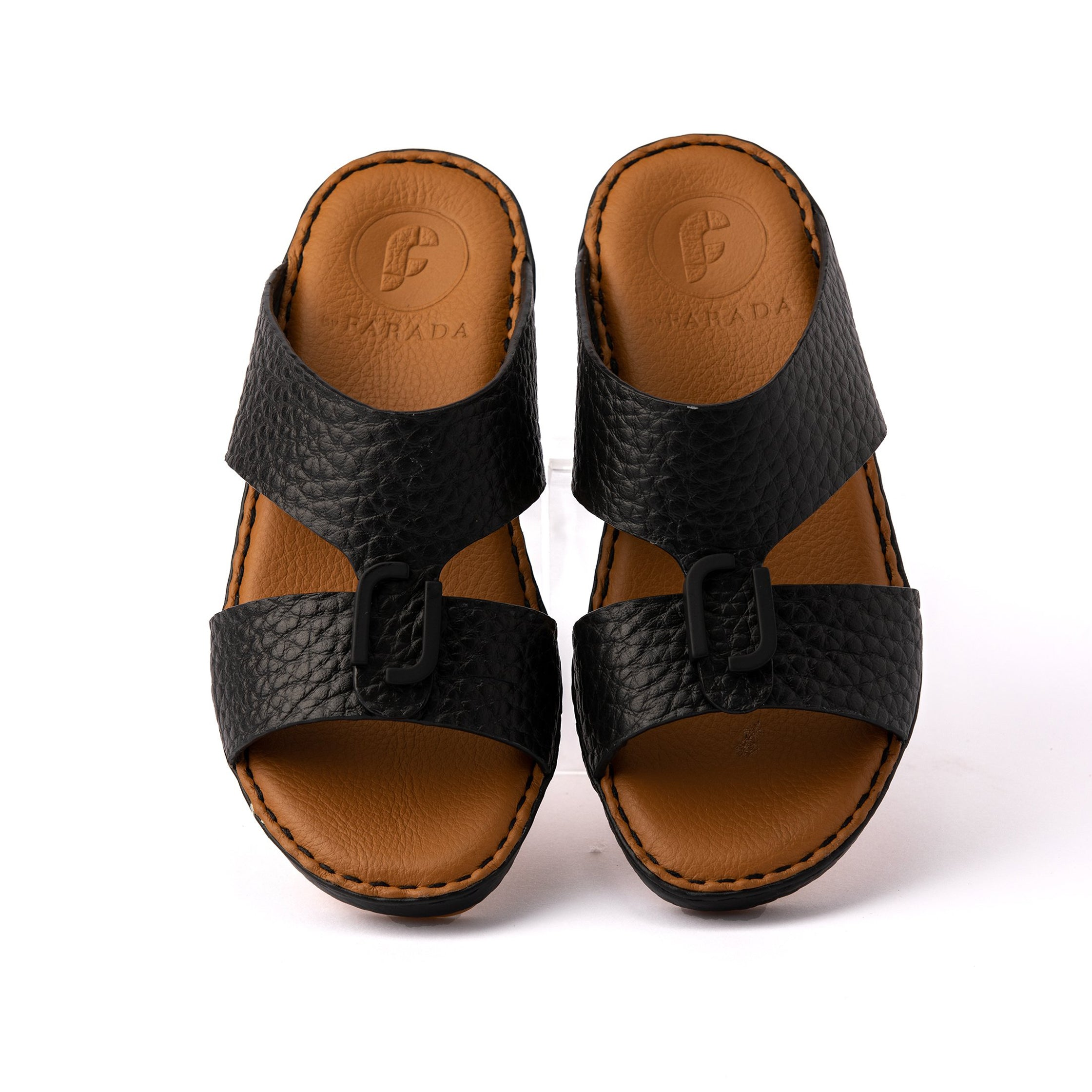 Black Unlined Milled Boys Arabic Sandals (317-80)