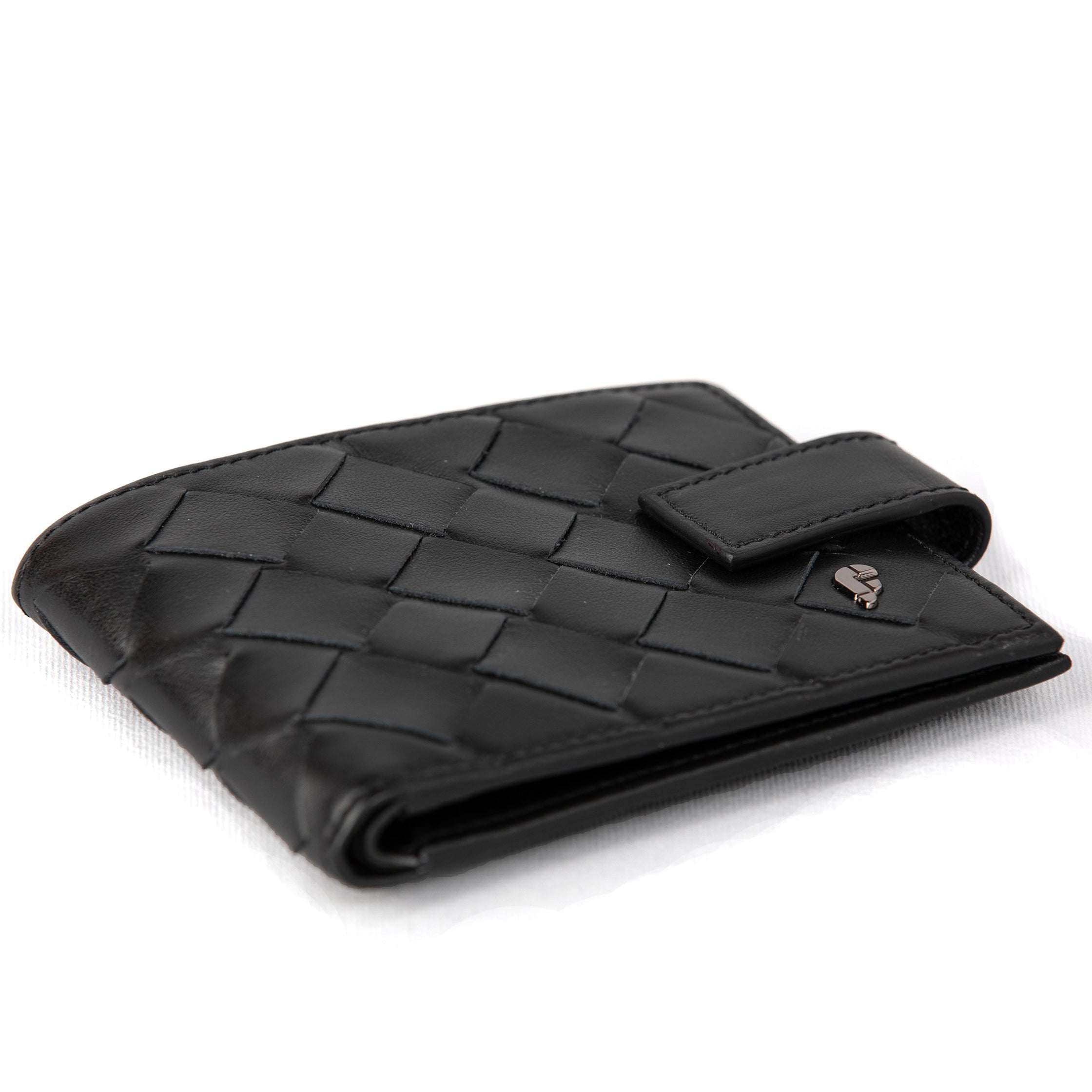 Black Weaving Matte Mens Wallet (FP104)