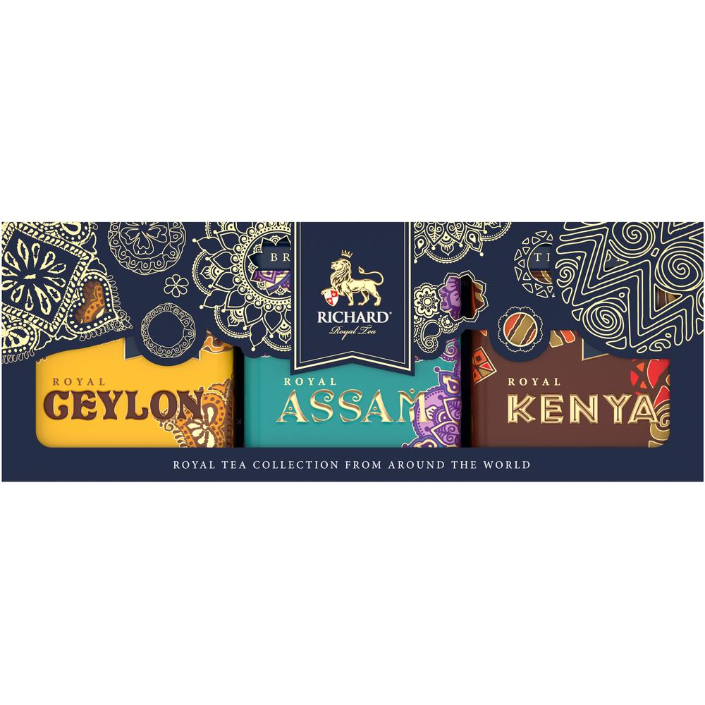 Royal Tea Collection From Around The World, loose leaf black tea assortment in tins, 3x50 g