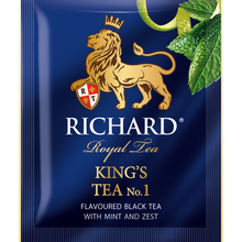 "Load image into Gallery viewer, ""King's Tea №1"" black flav sachets 25x2g"