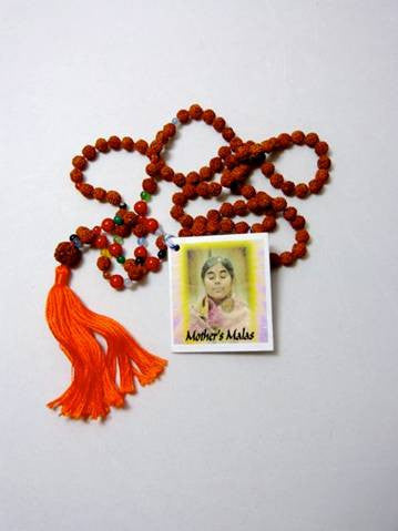 Rudraksha mala with red coral and agate