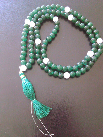 Mala: Jade and moonstone
