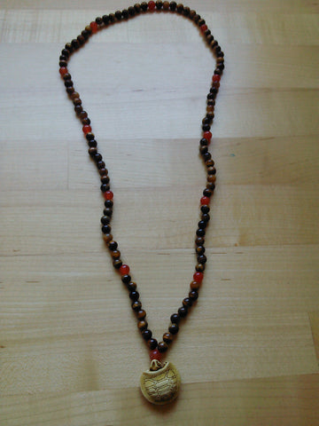 Mala: Tiger eye and carnelian