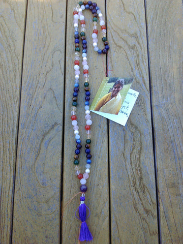 Mala: Amethyst, moonstone, carnelian, citrine and jade