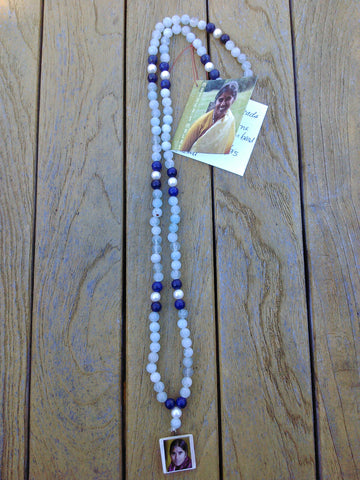 Mala: Aquamarine, lapis and pearl
