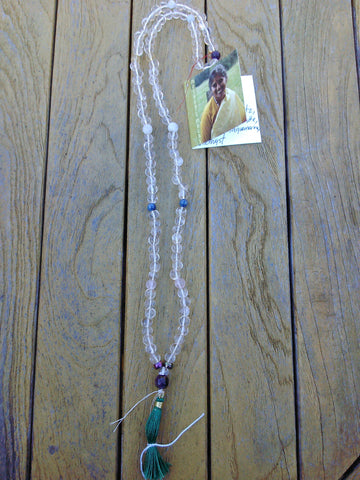 Mala: Himalayan quartz with rose quartz, kyanite, moonstone, and aquamarine accent beads