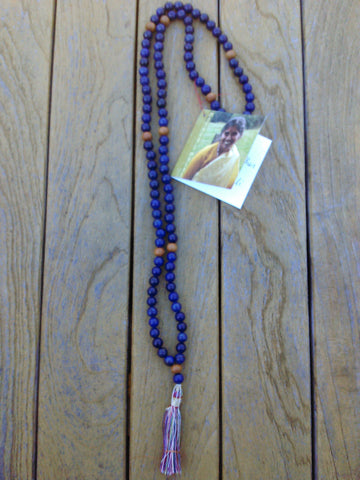Mala: Lapis lazuli with sandalwood bead accents