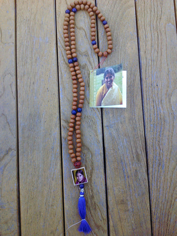 Mala: Sandalwood beads with Lapis accent beads