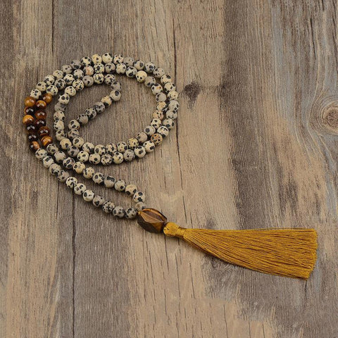 Mala: Tiger's Eye and Dalmatian Jasper