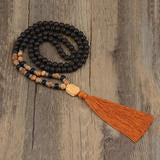 Mala: lava, polished agate & ox horn