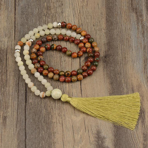 Mala:  Red turquoise & African Jade