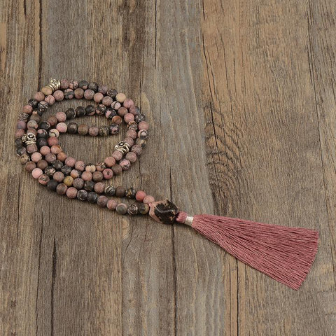 Mala:  Rhodonite and alloy metal