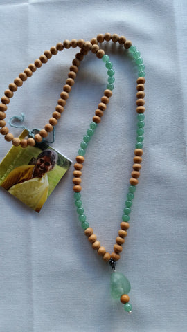 Mala: Rose wood and adventurine beads with adventurine guru bead