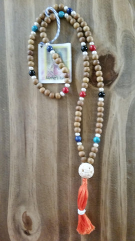 Mala: Sandalwood beads with Pearl, turquoise, lapis, onyx, and red coral