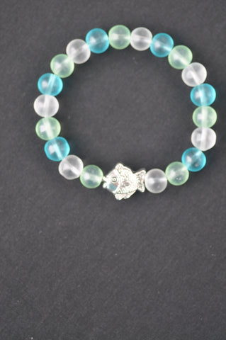 wrist mala: kids sea glass beads