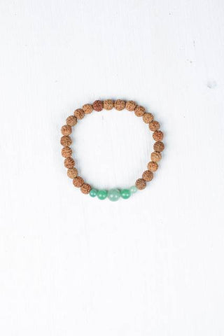 Rudraksha and green adventurine wrist mala