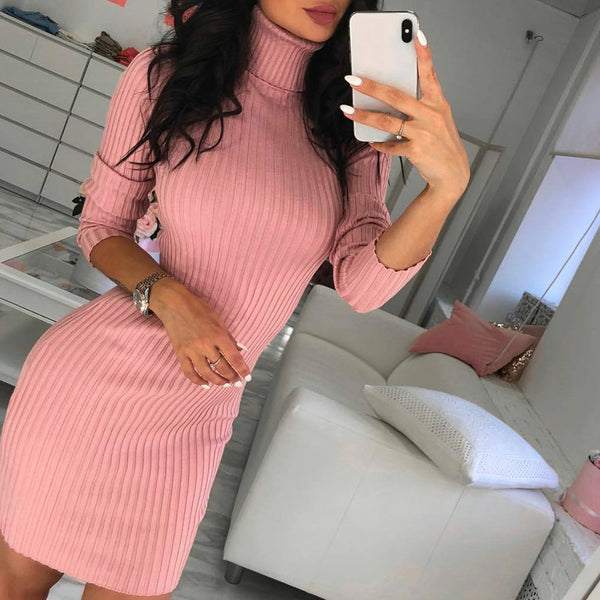Womens Knitted Sweater Dress Autumn Spring Sexy Fitness Casual Long Sleeve Turtleneck Harajuku Mini Dress Vestidos Robe Femme #E