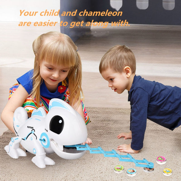 RC Robot Toys Chameleon Pet Changeable Light Electronic Model Animal Intelligent Remote Control Robot Toy Christmas Gifts 2.4CHz