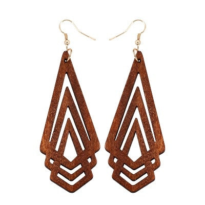 YULUCH Natural Wooden Earrings Geometrica Hollow Triangle Personality Simple Style Fashion Jewelry For Woman Girls Prom Party