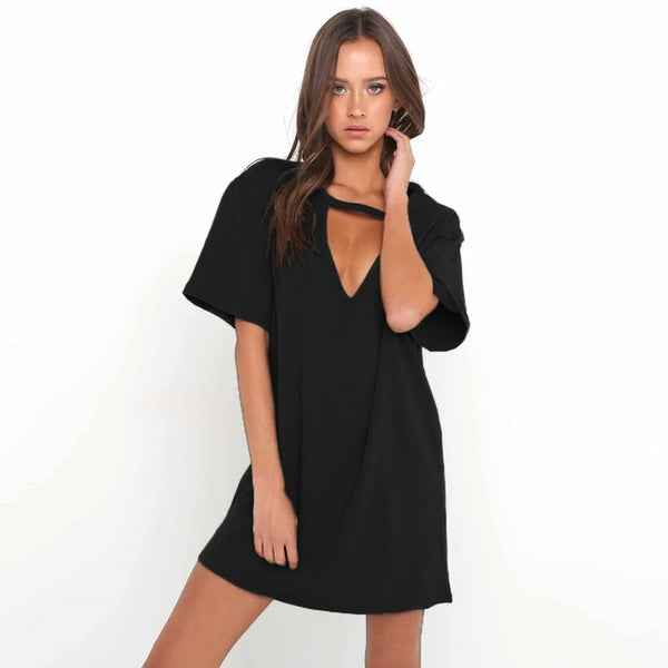 2020 Women Tshirt mini Dress Choker V-neck Summer Dresses Long Short Sleeve Casual Sexy Halter Boho Beach Dress Vestidos autumn