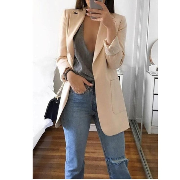 Women's Blazer jackets Spring Autumn Casual Plus Size Fashion Basic Notched Slim Solid Coats Office Ladies OutwearChic loosecoat